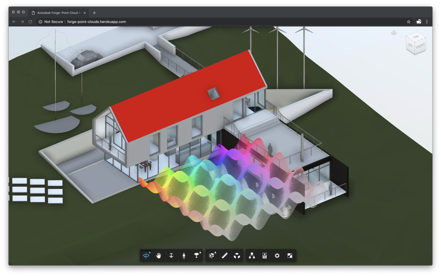 Point clouds in Forge Viewer.