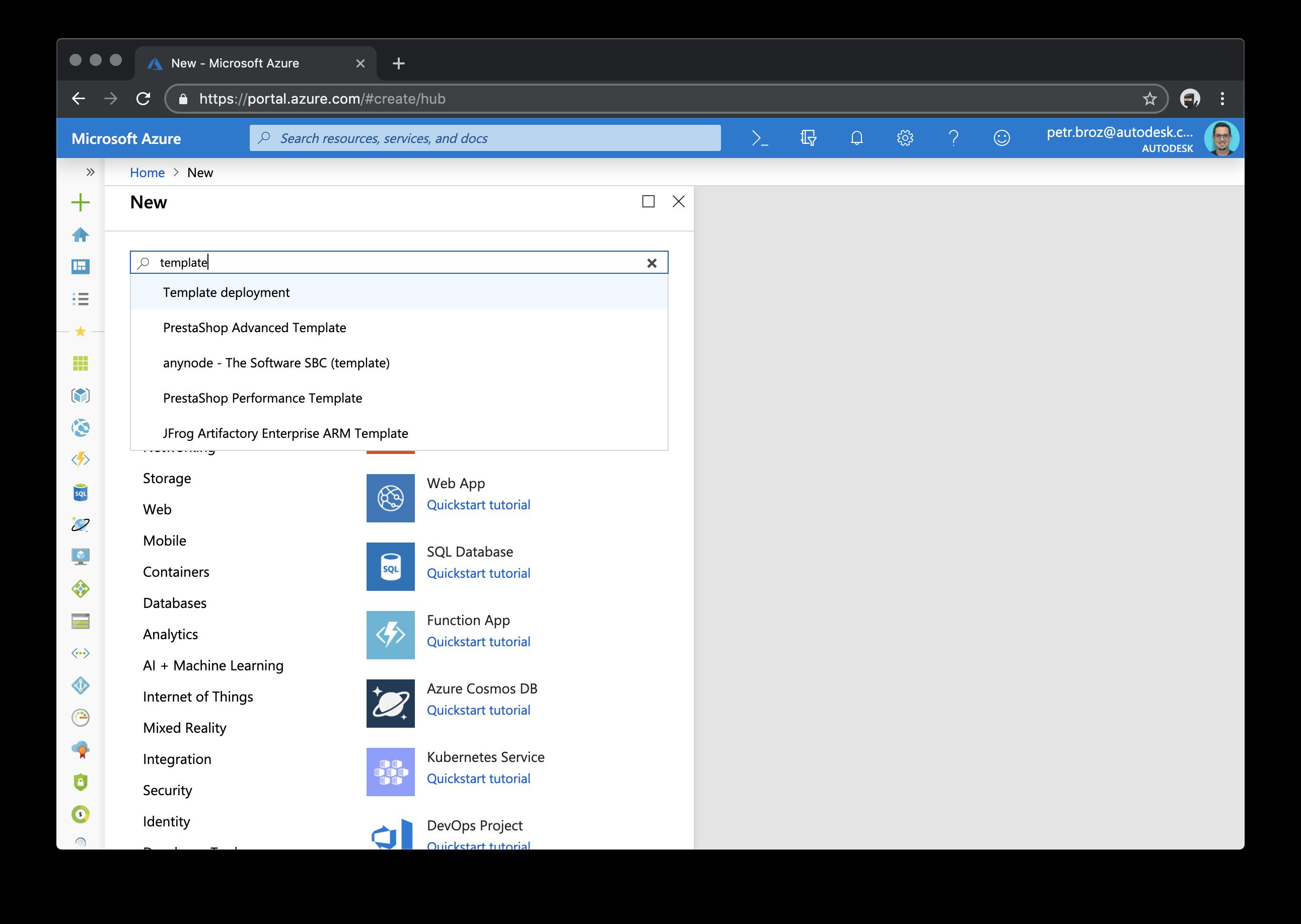 Create new Azure resource.
