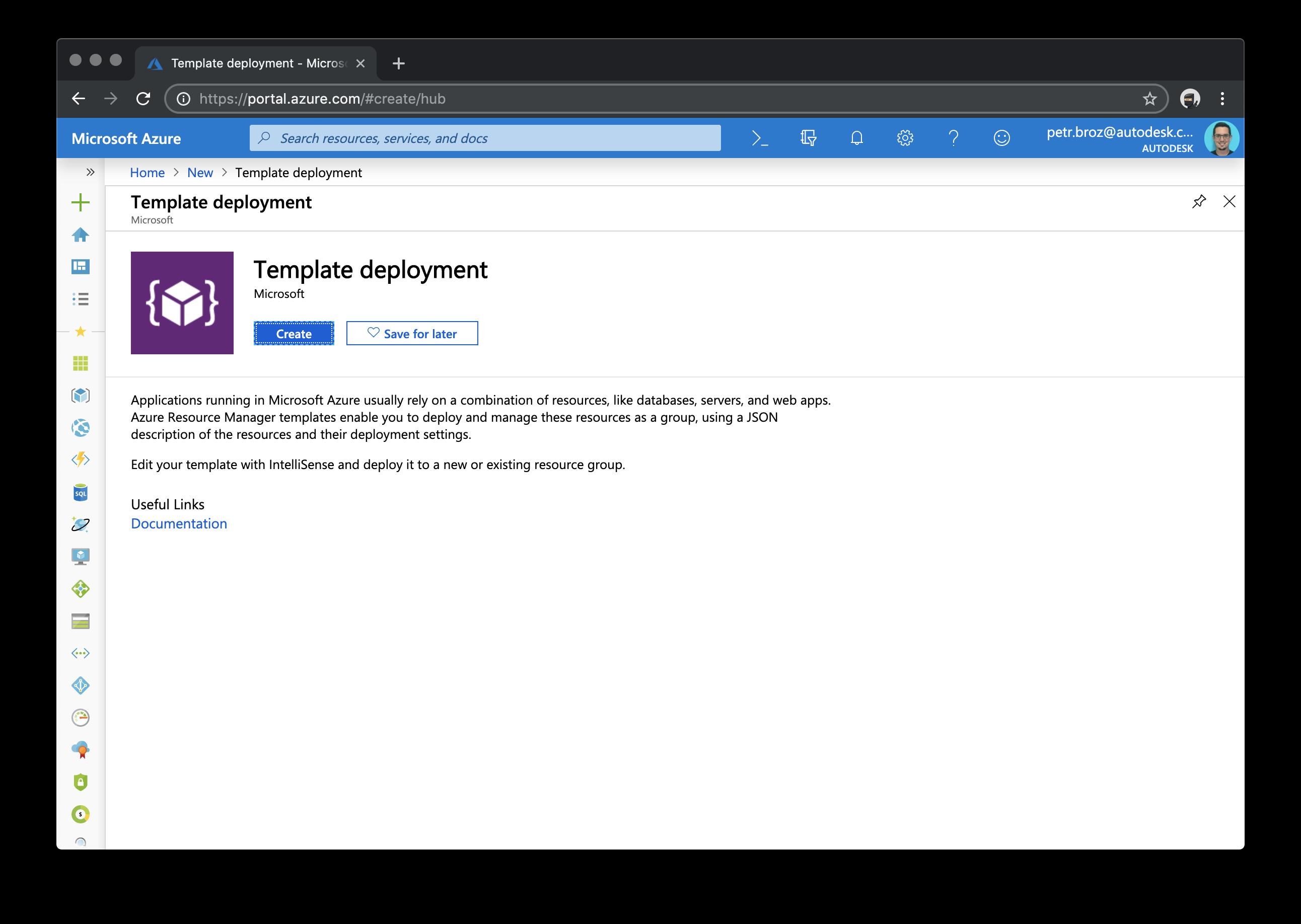 Create Azure template deployment.