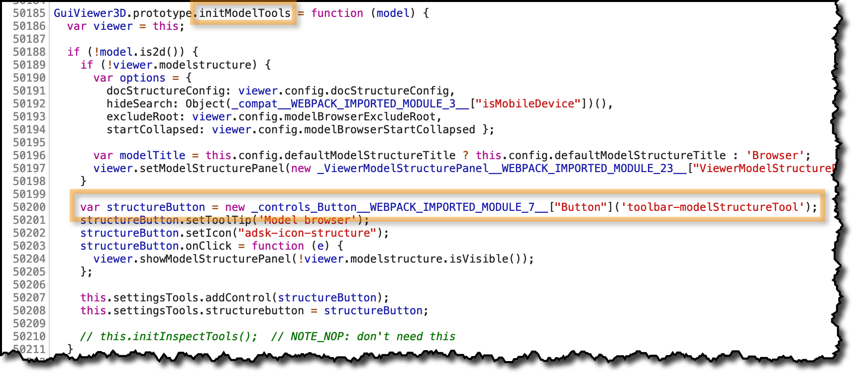 initModelTools function