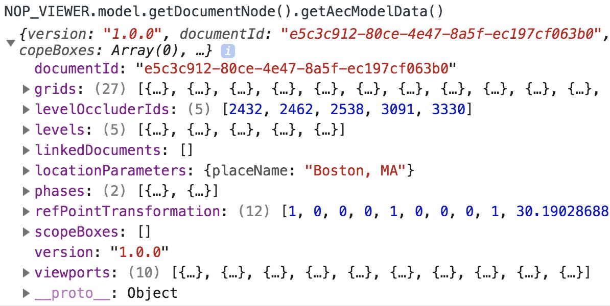 AEC model JSON