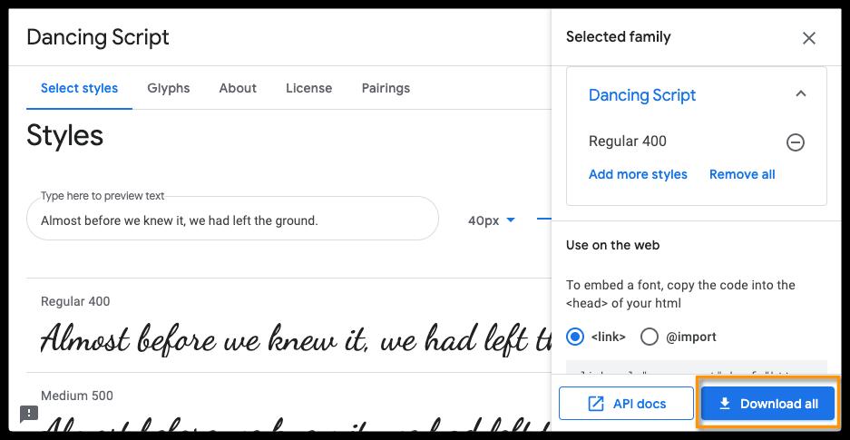 Dancing Script font on google