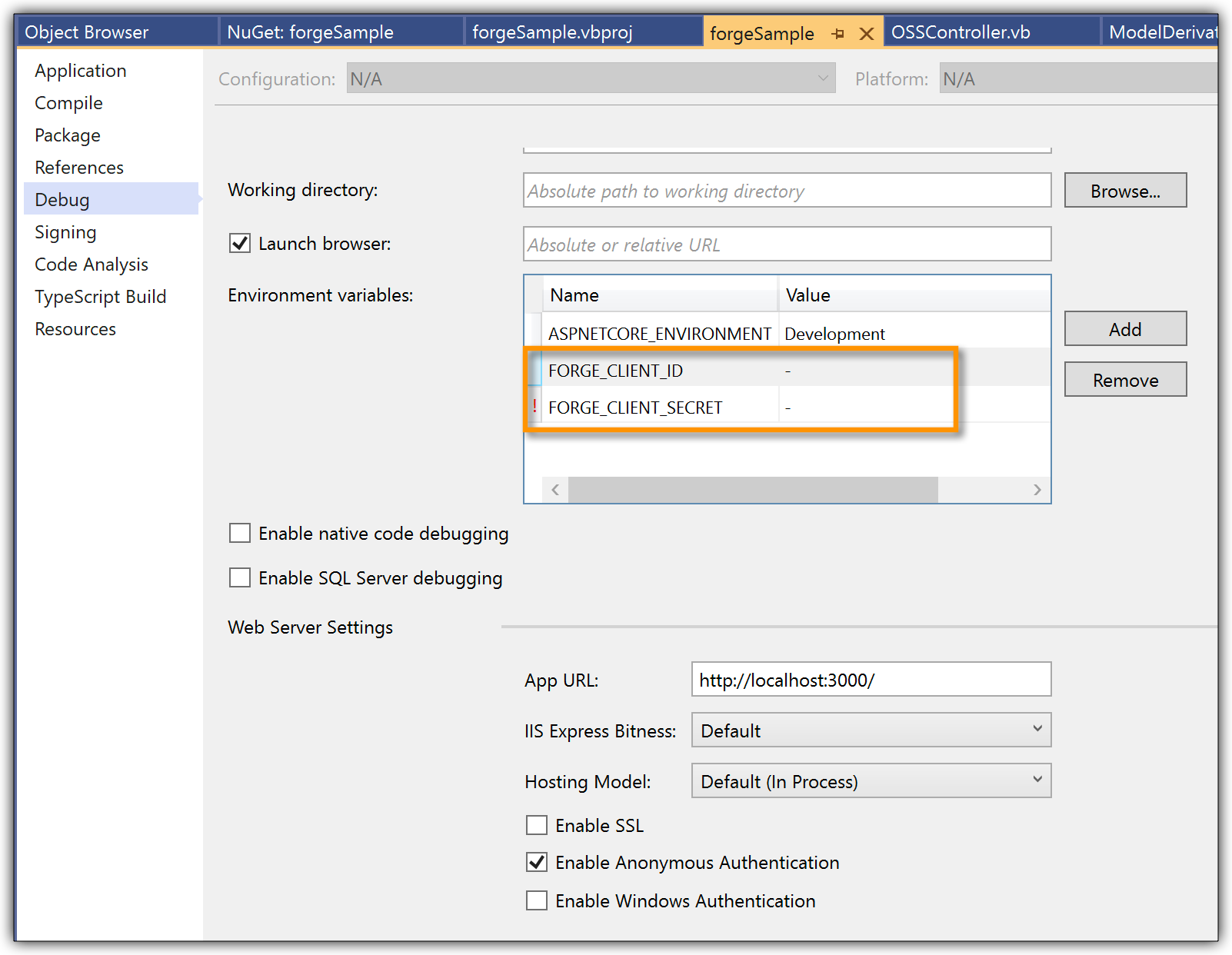 Add credentials in project settings
