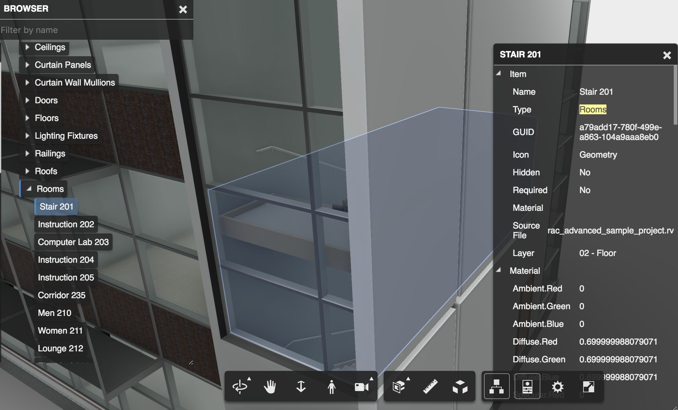 Make shader face for room object of the model | Autodesk Forge