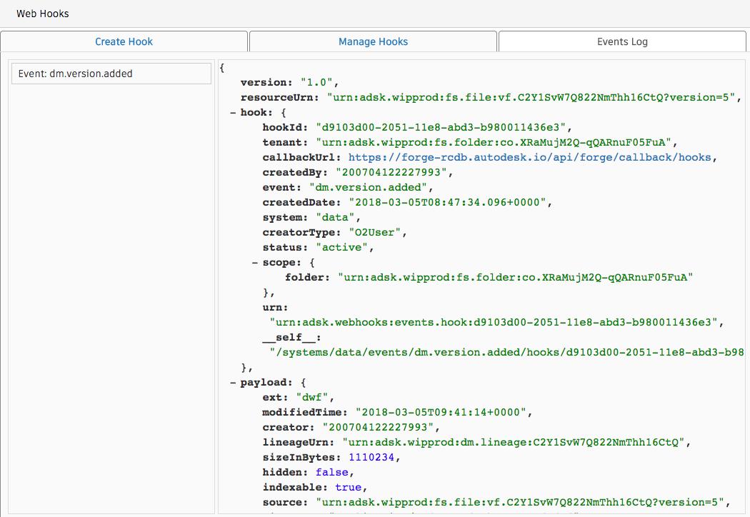Forge Webhooks Admin UI Sample | Autodesk Forge
