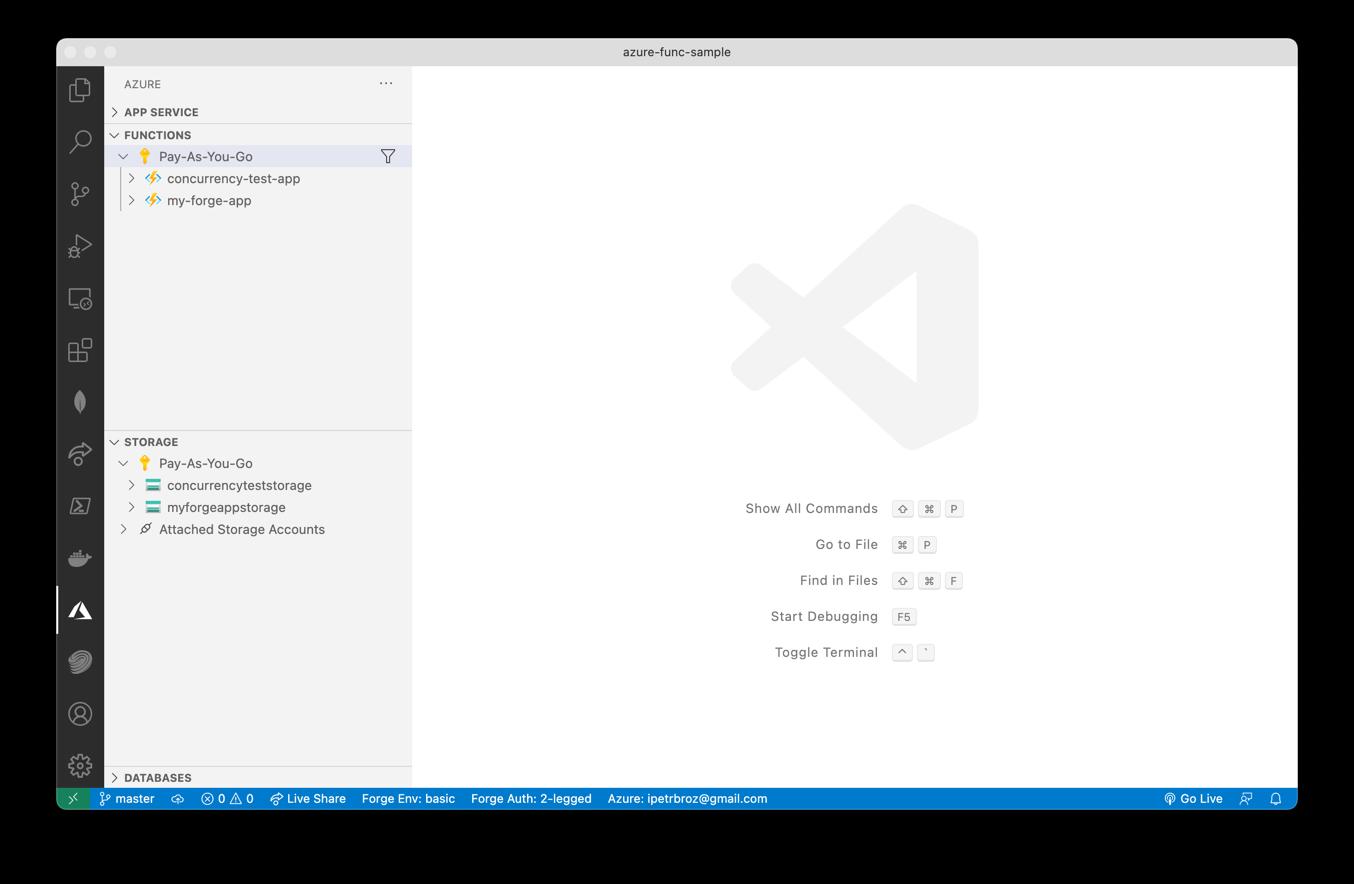 Visual Studio Code Azure sidebar - logged in