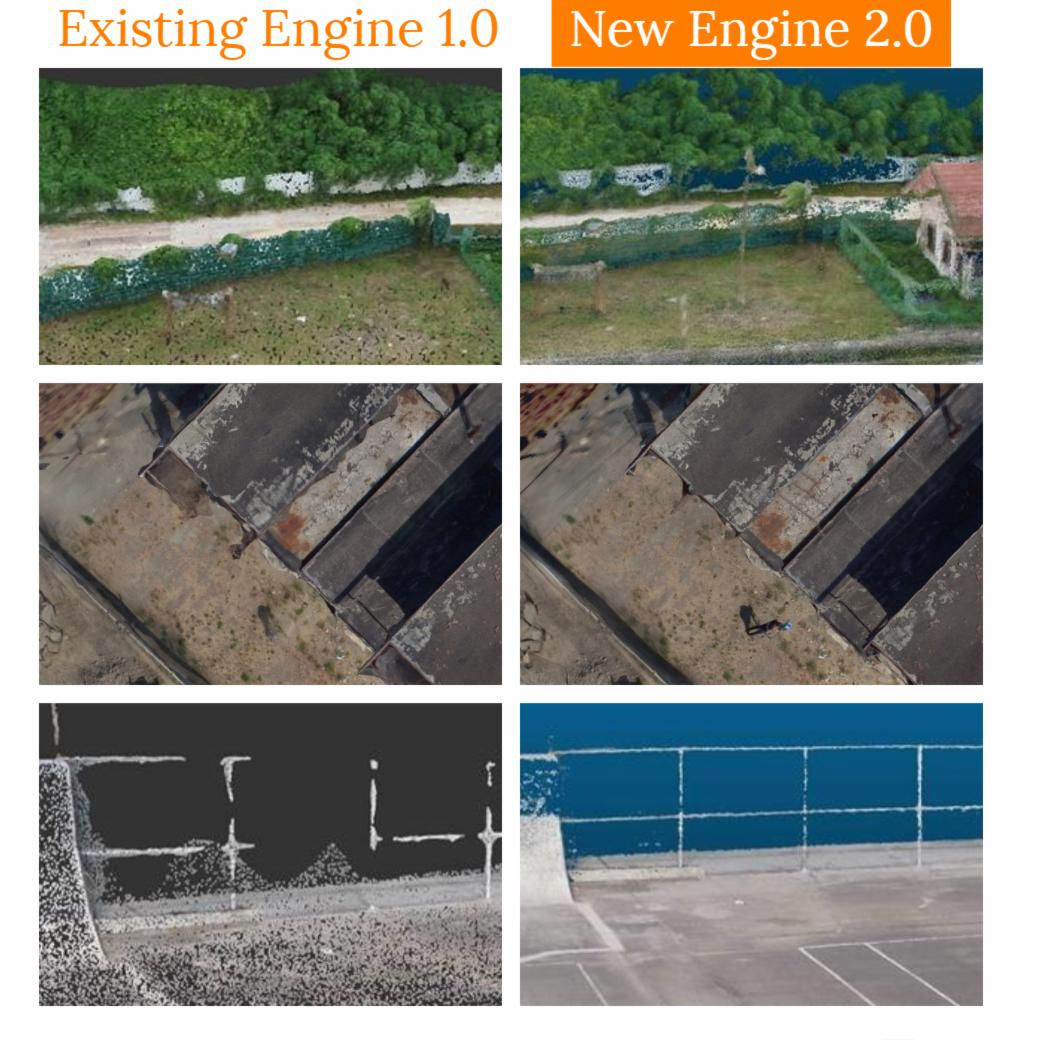 Existing engine images compared to new engine images.