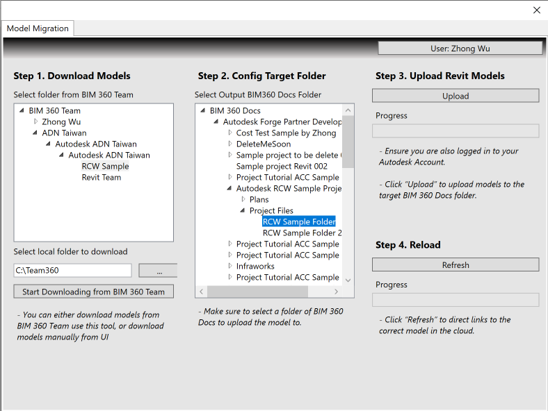 Revit Cloud Worksharing Model Migration Sample from BIM 360 Team to BIM 360 Docs